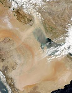 The Rub' al Khali, stretching across the lower part of this satellite image