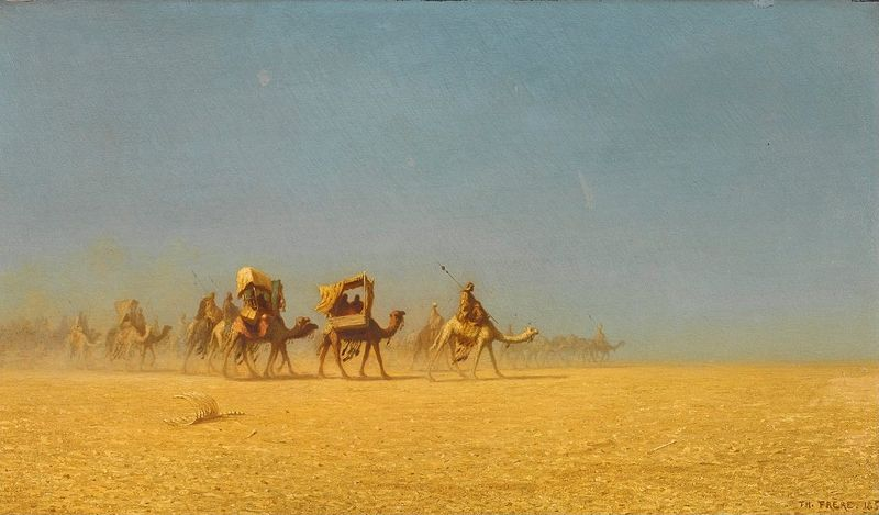 'Camel_Train_in_the_Desert'_by_Charles-Théodore_Frère,_1855