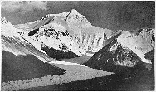 Everest from Rongbuk valley, photograph by George Mallory, from 'Mount Everest - the Reconnaissance, 1921', by C K Howard-Bury