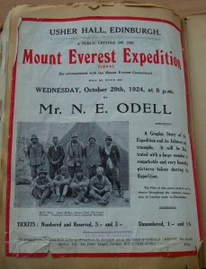 Poster for Odell's lecture on 29th October 1924; in the photograph, Mallory is 2nd from the left in the back row