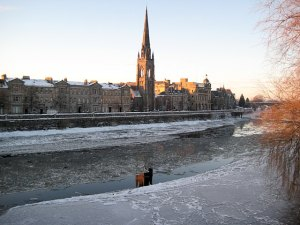 Perth, with ice on the River Tay