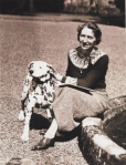 Isobel and her dog at Carlowrie Castle