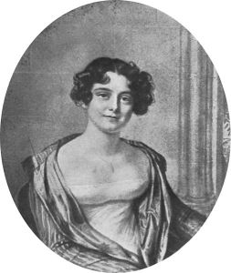 Jane Griffin, later Lady Jane Franklin, aged 24. Lithograph by Joseph Mathias Negelen after 1816 chalk drawing by Amelie Romilly