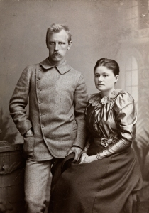 Nansen and his wife, Eva, taken in 1889. Nansen is wearing his Jaeger suit