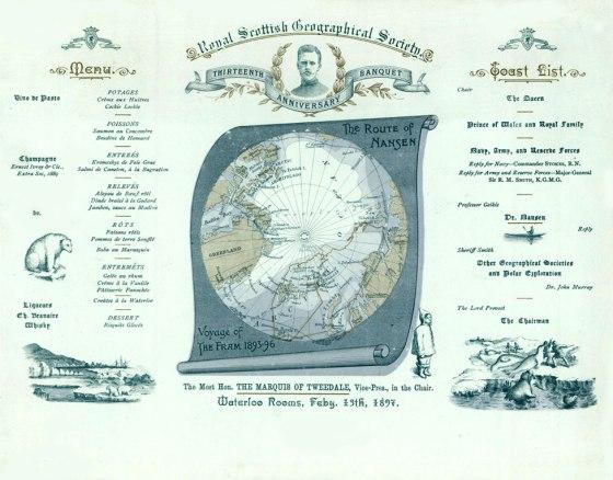 Nansen Banquet menu 1897